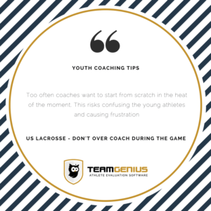 youth coaching tips - don't over coach during game