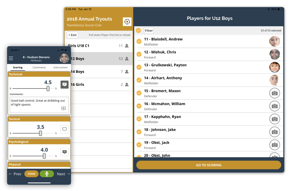 Player Evaluation Software product view